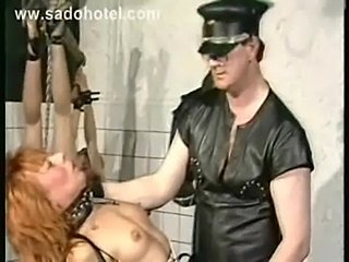 Several slaves in a dungeon got tied spanked and metal clamp free