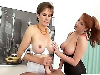 Lady Sonia uses her tits to make this guy cum in this threesome