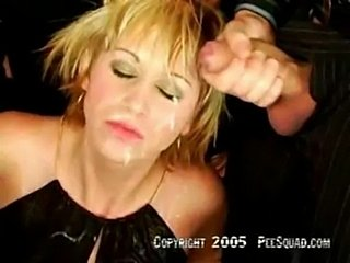 Bukkake blonde washes sperm of her face with piss  free