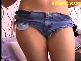 Hot brunette perfect tits masturbates on cam  free